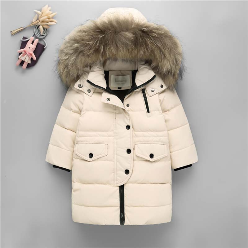 New baby girls Winter Coat Hooded Natural fur collar Children Down Jacket Baby Boy Winter Jacket Boys Kids Warm Outerwear coats купить недорого в Москве