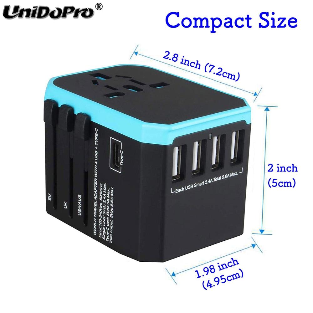 conversor de energia viagem 4x usb 1xtype c carregador para ipad iphone
