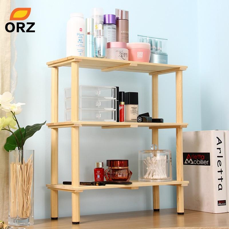 3layer desk wooden shelf desk cosmetic makeup organizer case kitchen bathroom storage holder rack