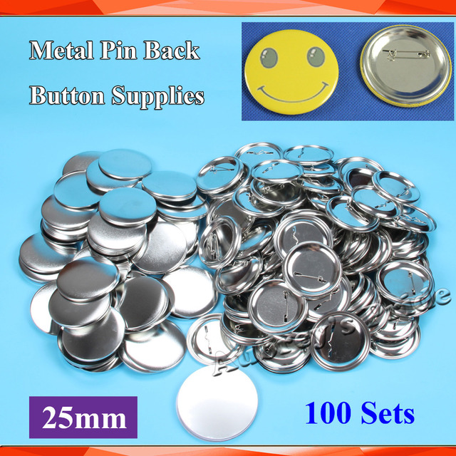 """1"""" 25mm 100 Sets NEW Professional All Steel  Badge Button Maker Pin Back Metal Pinback  Button Supply Materials"""
