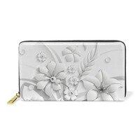 3D Flowers White Leather Wallet Women Zipper Long Card Holder Large Female Genuine Leather Money Bag