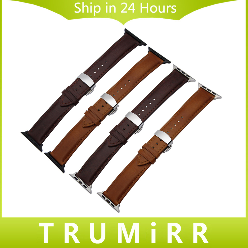 Italian Calf Genuine Leather Watchband for 38mm 42mm iWatch Apple Watch Series 1 & 2 Butterfly Buckle Band Wrist Strap Bracelet 6 colors luxury genuine leather watchband for apple watch sport iwatch 38mm 42mm watch wrist strap bracelect replacement