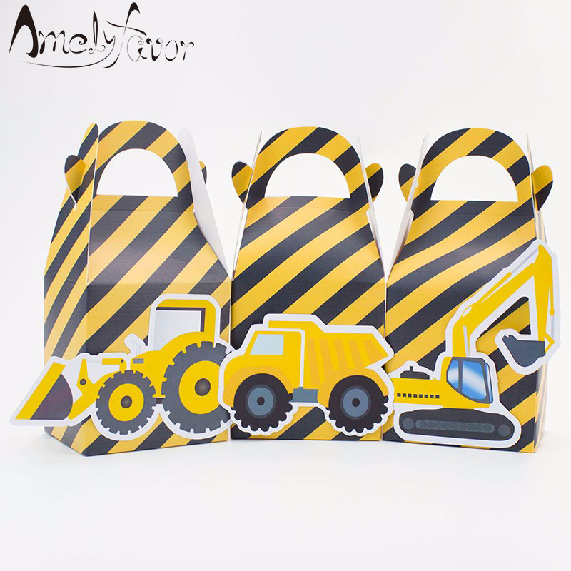 Construction Trucks Party Theme Favor Box Digger Candy Gift Box Cupcake Box Birthday Event Party Decorations Container Supplies