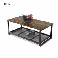 Dewel Coffee Table with Storage Shelf Industrial Modern Rustic 47 inch Coffee Table for Living Room