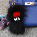 New Trendy black fur animal key chains women's bags pendant acrylic eyes mink monster keychain pompon Knapsack's glod keychain