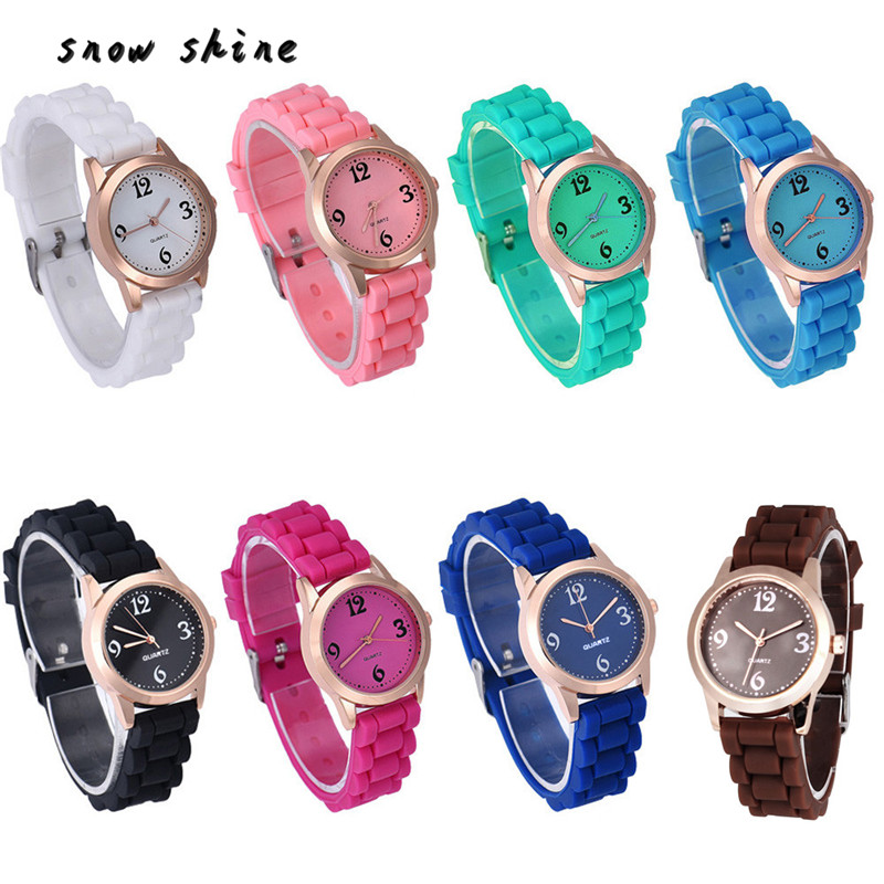snowshine 10 Unisex Silicone Causal Quartz Analog Wrist font b Watch b font free shipping