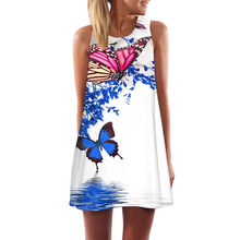 Women Summer Vintage Short Mini Dress Sleeveless Floral Print Tank O-Neck White Retro Dress Loose Casual Holiday Party Beach #H(China)
