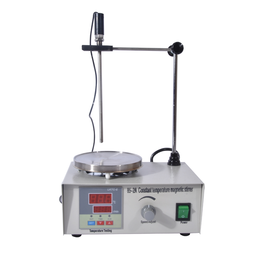 1PC 85-2A Lab Mixer Double digital display Heating Constant temperature Magnetic Stirrer 100-2000r/min 220V free shipping 7 15 mm ptfe magnetic stirrer mixer stir bar with pivot ring white color