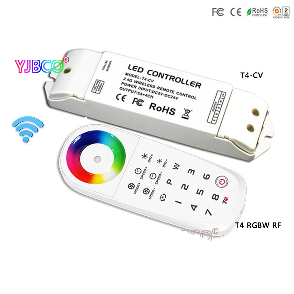 T4 2.4G 8 Zone Wireless Sync/zone LED RGBW Remote Controller ;T4-CV receiver for 5050 SMD RGBW led strip light t4 cc receiver controller 2 4g wireless remote constant current led current suitable for t4 remote control free shipping