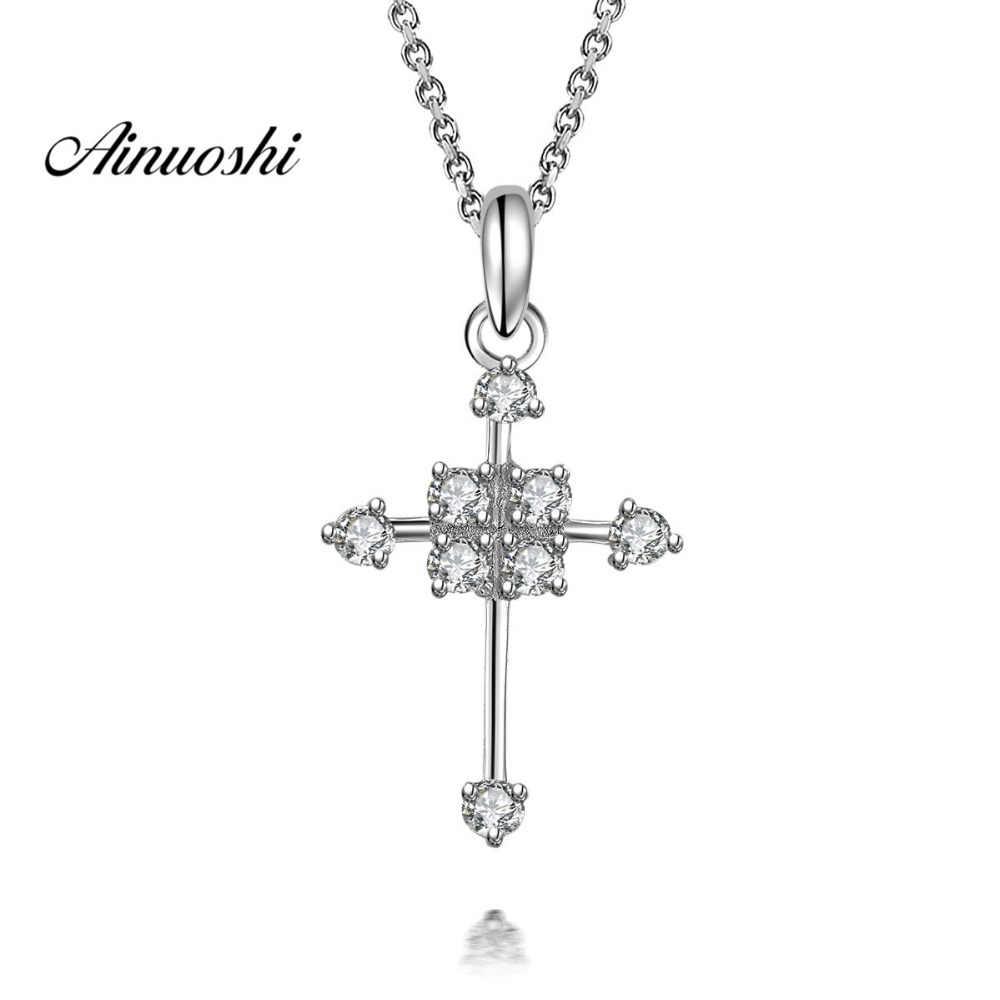 AINUOSHI Подвеска из стерлингового серебра 925 пробы, ожерелье для женщин, милый христианский крест, длинная цепочка, ожерелье, свадебное украшение для Иисуса, леди, подарок