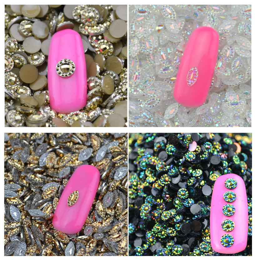 2016 New Arrival 4 Styles AB Nail Art Tips Crystal Glitter ...