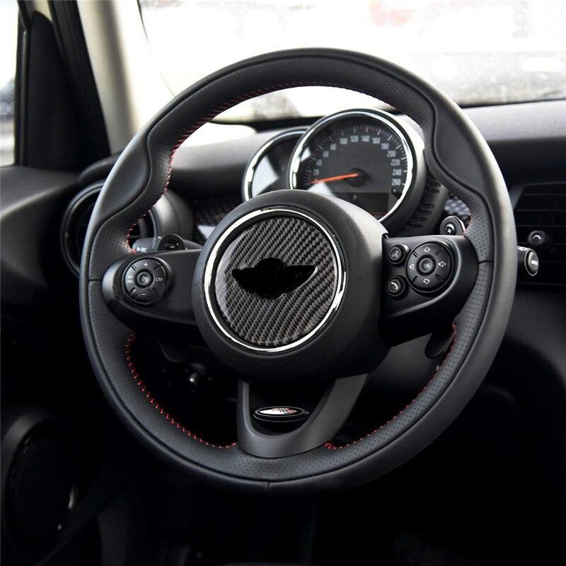 Carbon Fiber Steering Wheel Decal Stickers Interior Decoration For Mini Cooper One S JCW R55 R56 F54 F55 F60 Car Accessories