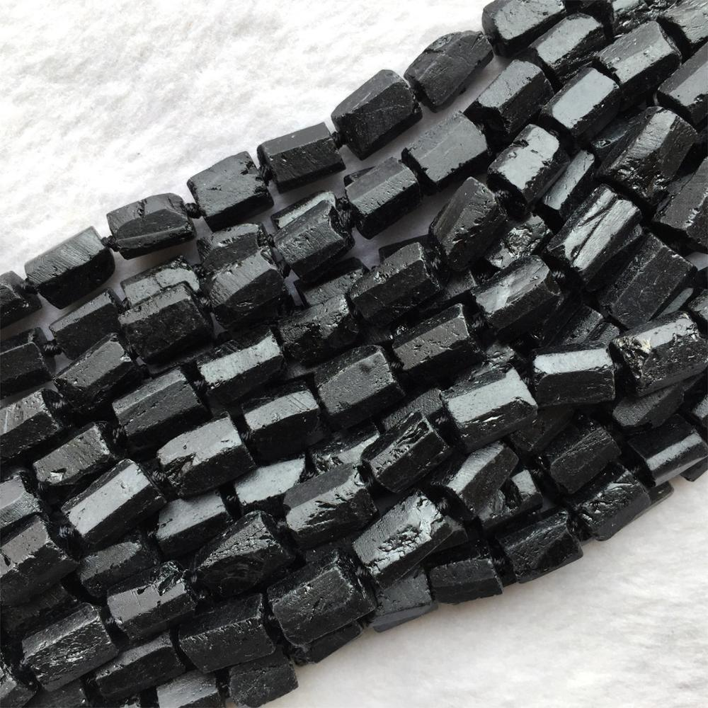 Natural Genuine Raw Mineral Black Tourmaline Hand Cut Nugget Free Form Loose Rough Matte Faceted Beads 6-8mm 15