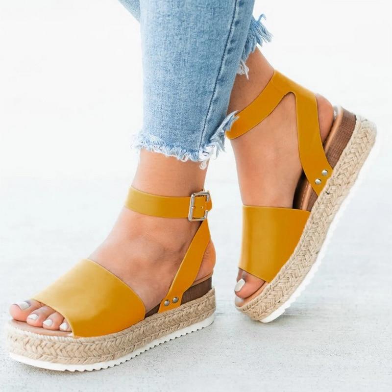 Puimentiua Women Sandals Pumps Wedges-Shoes Platform High-Heels Femme Chaussures