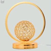 Modern LED ışıkları kristal dekoratif lamba kısılabilir yatak odası başucu çalışması Sanat Altın Masa Lambaları OLU-0053