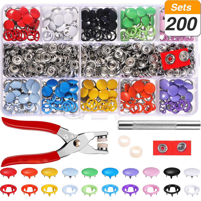 200Pcs Multicolor Prong Snap Buttons + 1pc Plier  Metal Fasteners Press Stud Installation Tools For Baby Clothes 9.5mm