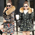 2017 Winter New Personalized Leisure Fashion Printing Denim Large Real Fur Collar Long Jacket Women's Plus Size Thick Outerwear