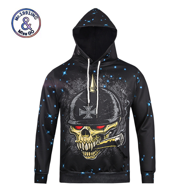 Mr.1991inc Fashion Brand Men/women Hoodies &sweatshirts 3d Print Pirates The Red Eye Skeleton Skull Leisure Hooded Pullover Tops Invigorating Blood Circulation And Stopping Pains Men's Clothing