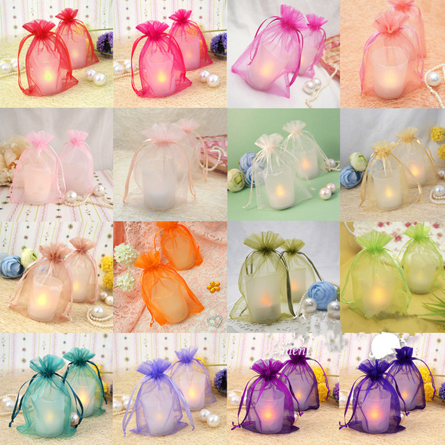 100pcs Organza Jewelry Candy Bag Wedding Favors And Gift Drawstring Pouch Decoration Centerpieces Party