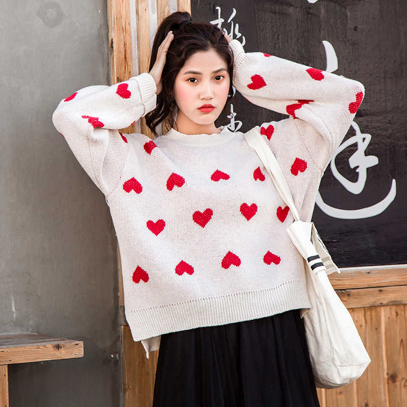 d1259c3bd66 Female korean kawaii cute Loose round neck color love sweater women's  sweaters Japanese harajuku Ulzzang clothing