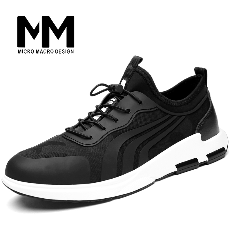 MICRO. MACRO Men Casual Shoe 2017 Spring New Design Light weight Breathable Comfortable Elastic Band shoe Flats men shoe A82-1 micro micro 2017 men casual shoes comfortable spring fashion breathable white shoes swallow pattern microfiber shoe yj a081
