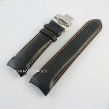 24mm(Buckle 22mm) T035627A/T035614 Silver Butterfly Buckle Orange Stitched Black Smooth Genuine Leather Watchband For T035 Strap
