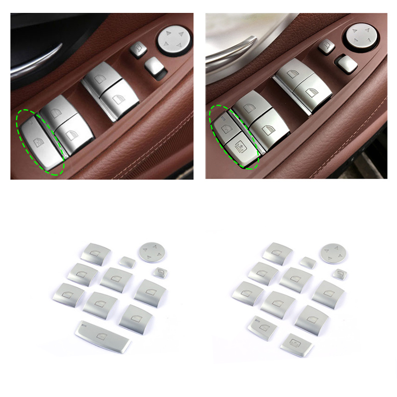 New Inner Chrome Door Window Switch lifter buttons Covers Trim Interior Stickers for BMW 5 series