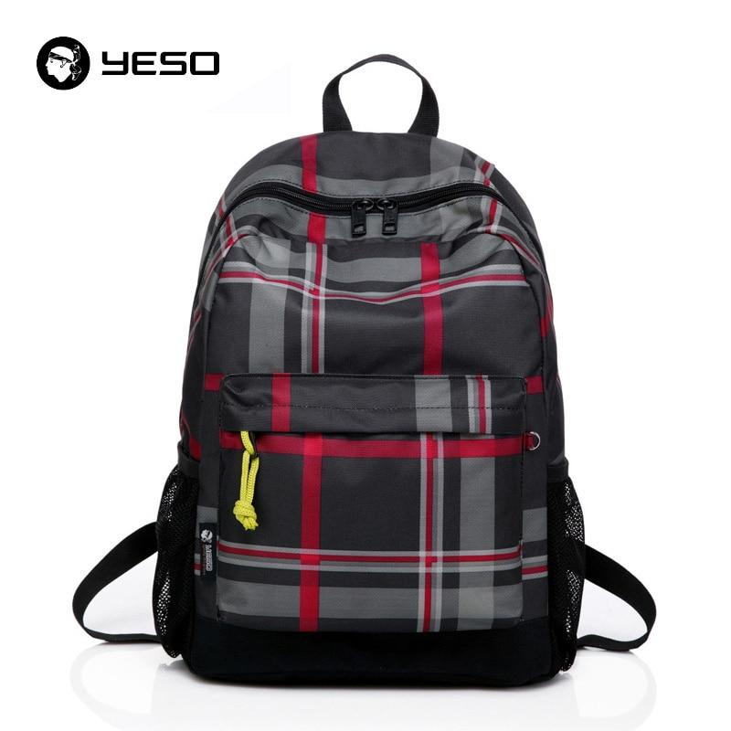 Yeso Brand Backpack Men School Bag For Teenagers Plaid Mochila 2018 New Large Capacity Waterproof Nylon School Backpacks Women