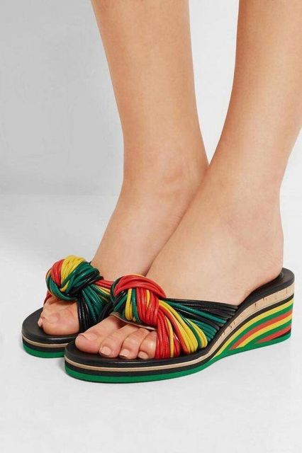 fcea2ae43eb Women Bohemia Style Sandals Multi-color Rainbow Rope Knot Sandals Wedge  Heels Women Slides Slippers 2016 New