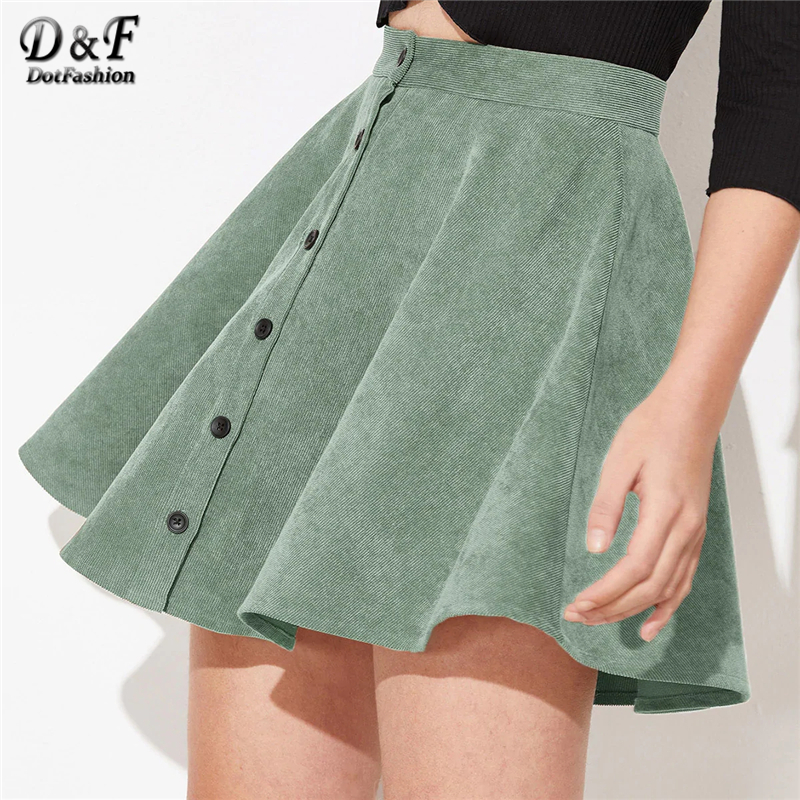 Image 3 - Dotfashion Solid Button Up Flare Cord Skirt Women 2019 Preppy Summer Casual Spring Ladies Fashion Mid Waist Short Skater Skirts-in Skirts from Women's Clothing