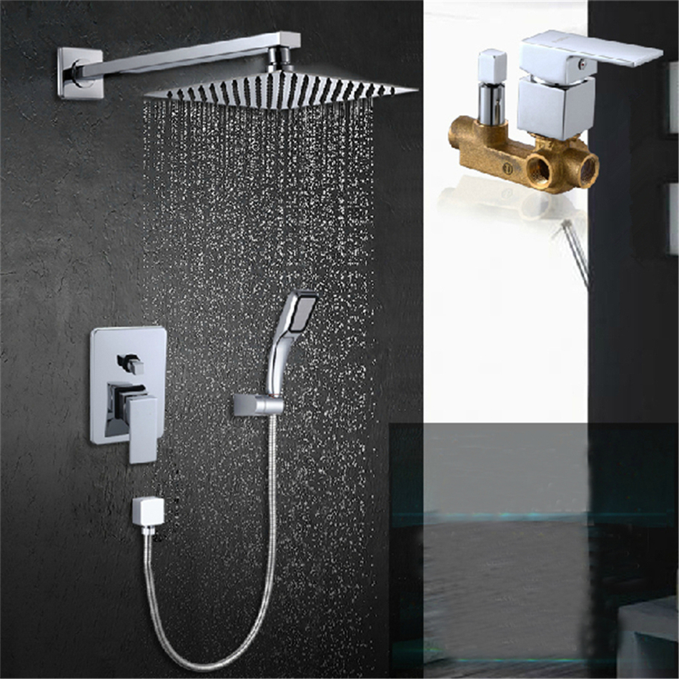 Free shipping rain shower sets brass chrome shower faucet with 8 ...
