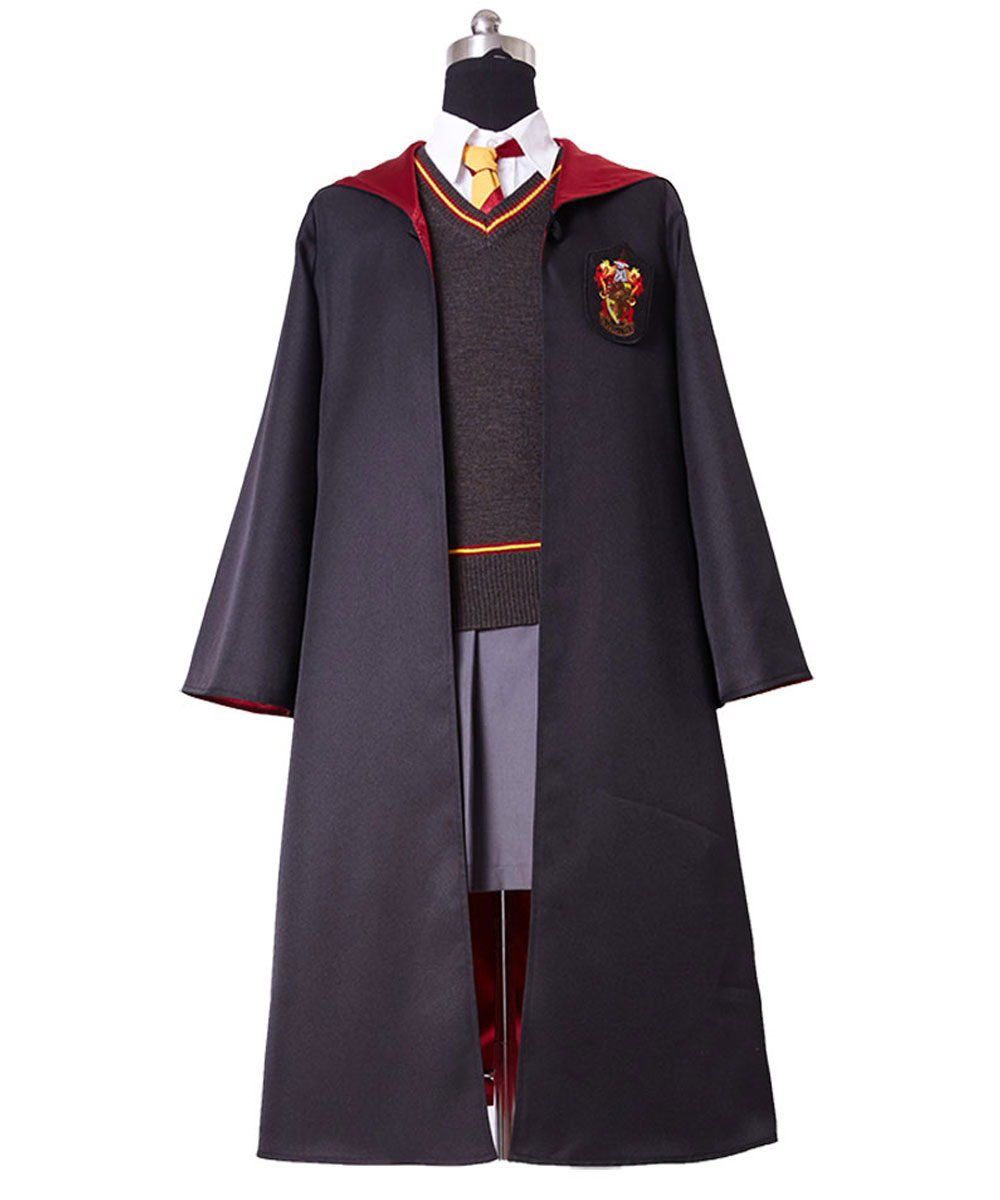 Girls Cosplay Gryffindor Uniform Hermione Granger Cosplay Costume for Child Kid Custom Made Full Set Costume Magic Wand Necklace