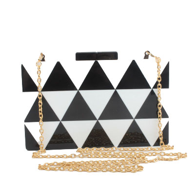 2018 New Slanting Women's Small Square Bag Personality Mini Black And White Stitching Acrylic Hand Holding Evening Bag