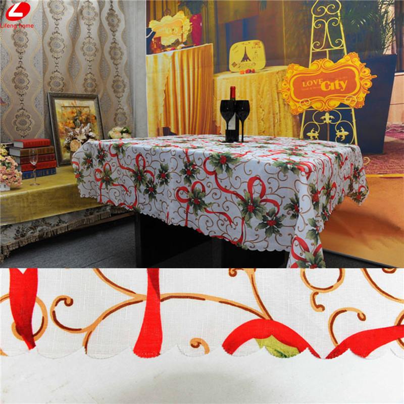 Christmas decoration for home dining christmas table cloth for 180 degrees christmas decoration