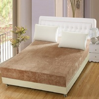 Crystal velvet fitted sheet plush warm Spring bed cover Mattress cover customizable solid color 1.5m 1.8m 2m winter bed covers