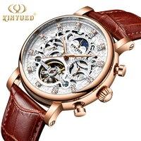 KINYUED 2019 New Men Automatic Skeleton Waterproof Moon Phase Calendar Mechanical Watches Tourbillon Business Horloges Mannen