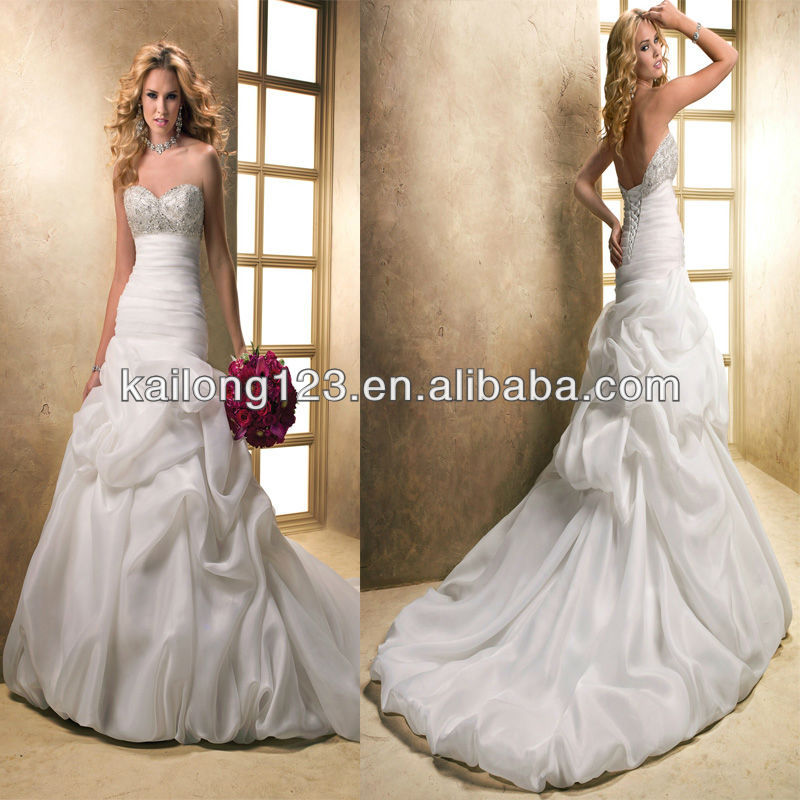Aliexpress Buy Graceful Sweetheart Fit And Flare Bubble Hem Chapel Train Pick Up Skirt Crystal Beading Bodice Organza New Style Wedding Dress From