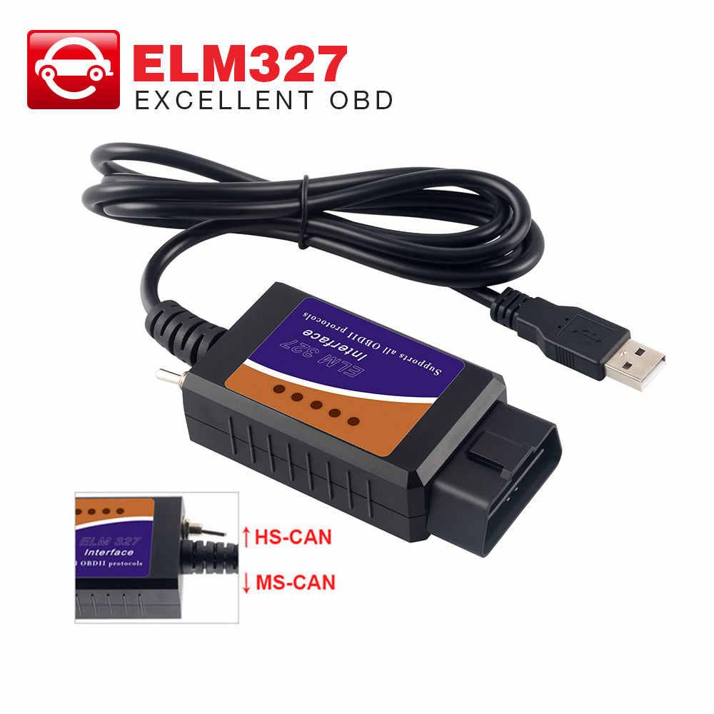 ELM327 USB V1.5 Modified ELMconfig CH340+25K80 Chip For HS-CAN MS-CAN Forscan