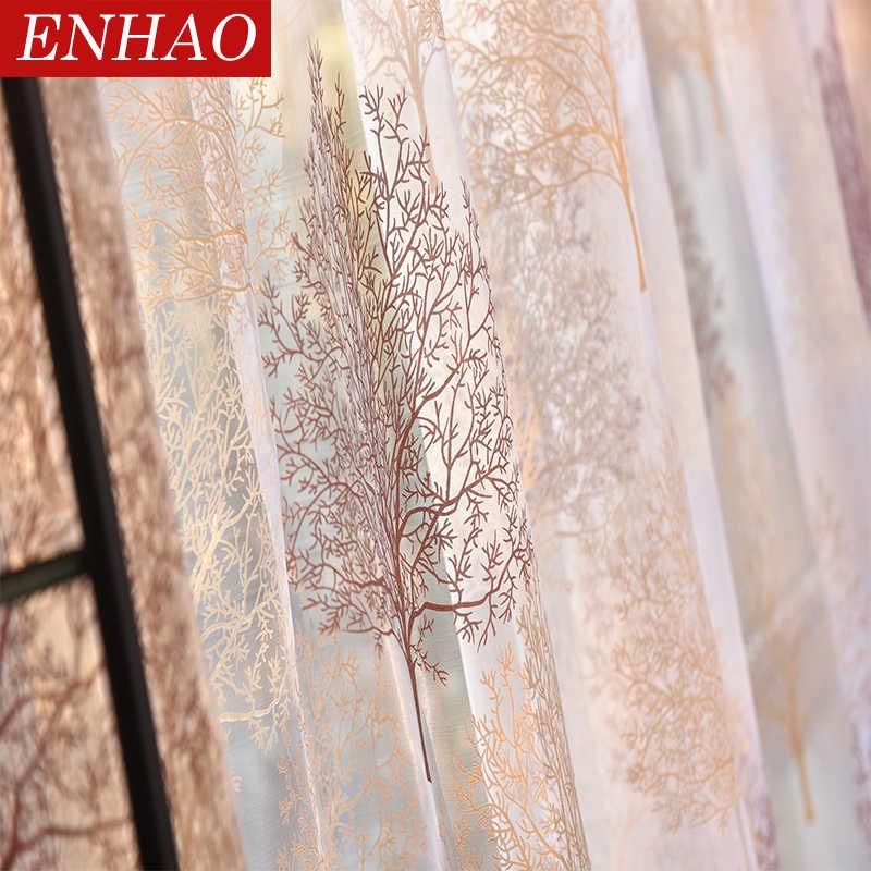 ENHAO Moderna Tende di Tulle per Soggiorno Cucina di Lusso Sheer Tende per la Camera Da Letto Elegante Voile Tende per Finestra Tulle