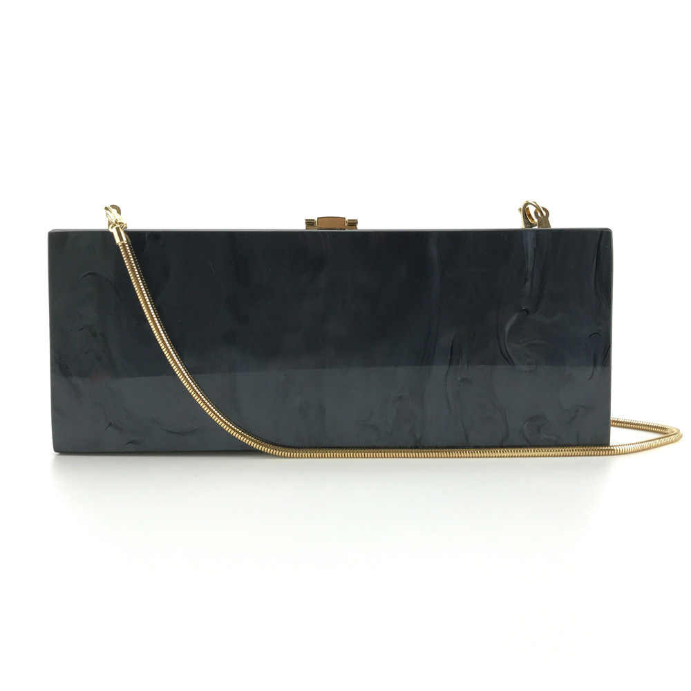 ... 25X10 Cm Long Size Black Fabric Snake Chain Acrylic Clutch Box Bag  Women Shoulder Messenger Evening ... c6470d6abd427