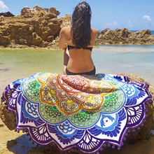 2017 New high quality  Mandala Tapestry Lotus Printed Bohemian Beach Towel Yoga Mat Sunblock Round Beach Cover-Up Blanket women large bath towel for beach thick round 3d sugar skull printed beach towel fabric quick compressed towel tapestry yoga mat