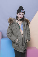 Vintage solid color tooling pocket drawstring buckle fur collar with a hood zipper loose clip bf cotton-padded coat