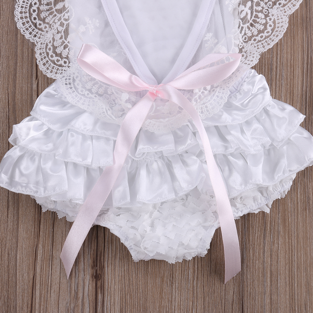 Cotton Bow Cute White Rompers Infant Baby Girl Clothes