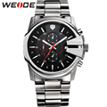 WEIDE Watches Men Stainless Steel Wristwatch Sport Brand Multi-function Date Stopwatch 50-Meter Waterproof Quartz Movement Clock