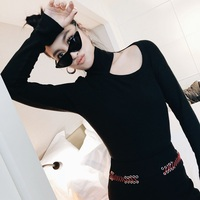 Women  black one shoulder hollow out turleneck knitted cropped jumpsuit bodysuit long sleeve combinaison femme romper