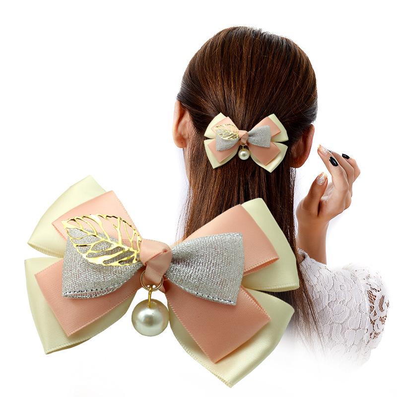 I-Remiel Korean Handmade Headdress Bow Flower Top Hair Rope Clip Headwear Spring Clip Jewelry For Women Hairpin Hair Accessories