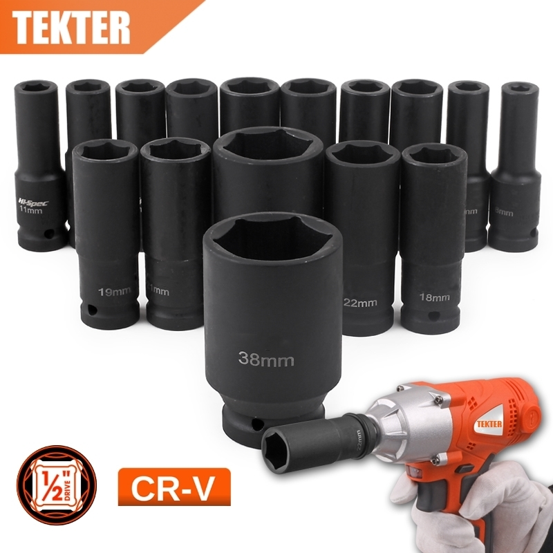 TEKTER TK0012 1/2DR.Impact Deep Socket Tool METRIC 6 Point Axle Nut Socket Set78mm CRV Chrome Vanadium Air Garage 8mm-32mm
