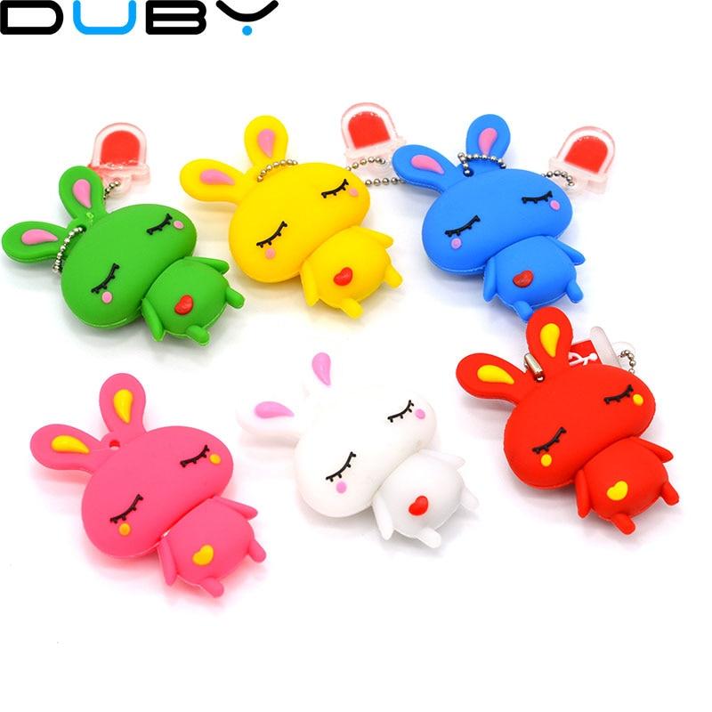 1pcs hot Cute rabbit TRUE100% usb flash drive 64GB 1GB 2GB 4GB 8GB 16GB 32gb usb pen drive usb stick