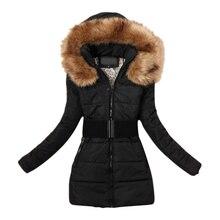 Women's padded winter warm fur collar jackets coat jacket