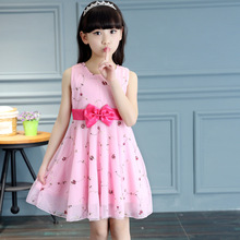 цена на Girl dress summer broken flower dress net gauze  dress  princess  little girl summer embroidered